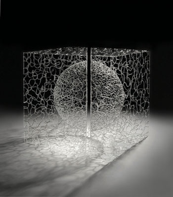 """Cubism I...The Essence of Study"" by Brent Key Young. Flame Borosilicate Glass at RARE Gallery"