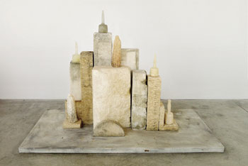 """Monk Morandi, 2013"" by Jane Rosen.  Limestone and kiln cast glass at Tayloe Piggot"