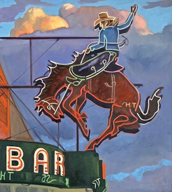 """Neon Cowboy"" by Dennis Ziemienski. Oil on canvas at Altamira Fine Art"
