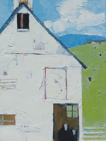 """White Barn"" by Dinah Worman Oil on canvas at Trailside Galleries"