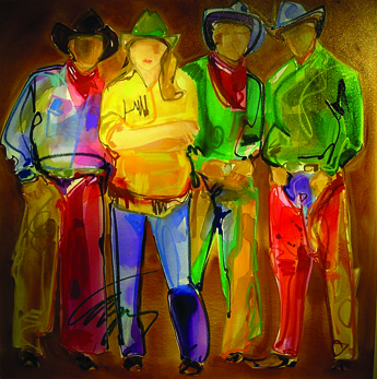 Cowboy Chivalry by Carrie Fell. Mixed media at Thomas Anthony Galler