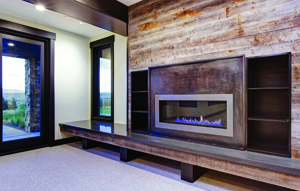 Contemporary fireplace by Todd Arenson Construction using Reclaimed Wyoming Snow Fence Wood with steel and concrete accents.
