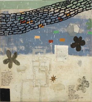 Citizen by Squeak Carnwath. Oil and alkyd on canvas over panel at Tayloe Piggott Gallery