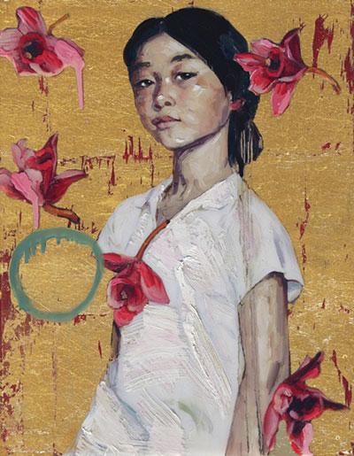 Fallen Flowers II by Hung Lui. Mixed media at Diehl Gallery