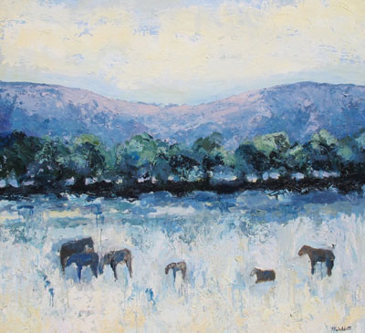 Reinheimers Horses #3 by Theodore Waddell. Oil, encaustic on canvas at Altamira Fine Art