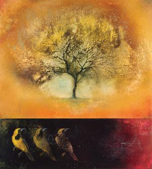 """Poiesis"" by Lynda Lowe. Watercolor, oil, and wax on panel at  Kneeland Gallery"