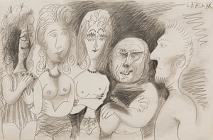 """Cling Personnages (5 Standing Figures)"" by Pablo Picasso, 1970. Pencil on paper at Lipton Fine Arts in Ketchum"