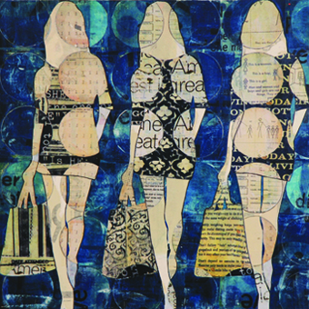 3 Circle Girls by Jane Maxwell. Mixed media at J GO Gallery