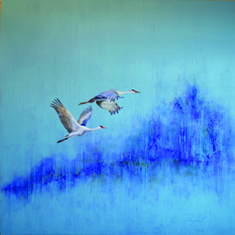 A Pair of Sandhill Cranes in Blues and Purple by Greg Ragland. Acrylic on canvas at J GO Gallery